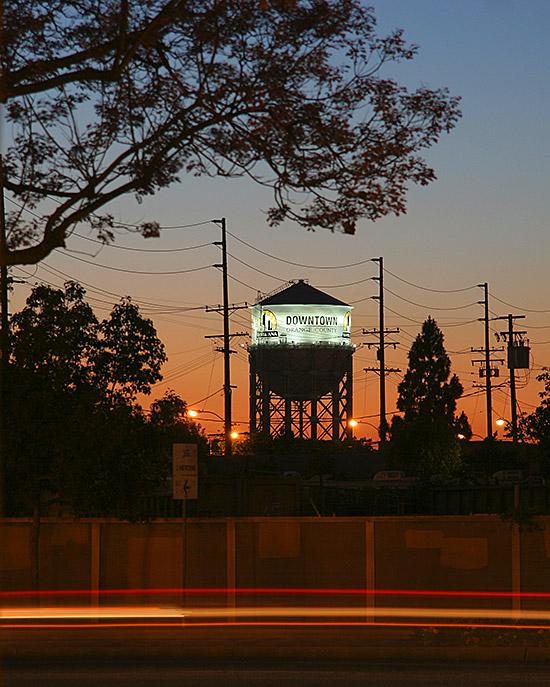 Santa Ana California Water Tower at Night