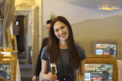 April is very happy onboard Emirates