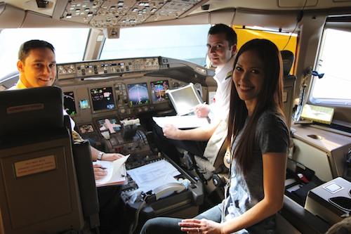 April visits the cockpit