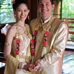 April Malina and Jason Niedle at Thai wedding ceremony of Wedding World Tour