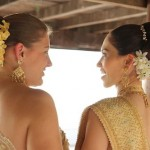 Melissa Priest and April Malina at Thai wedding ceremony