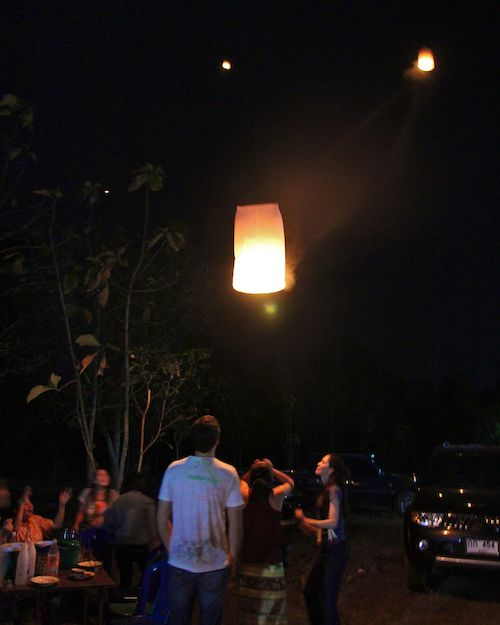 Fire balloons at Thai reception of our Wedding World Tour