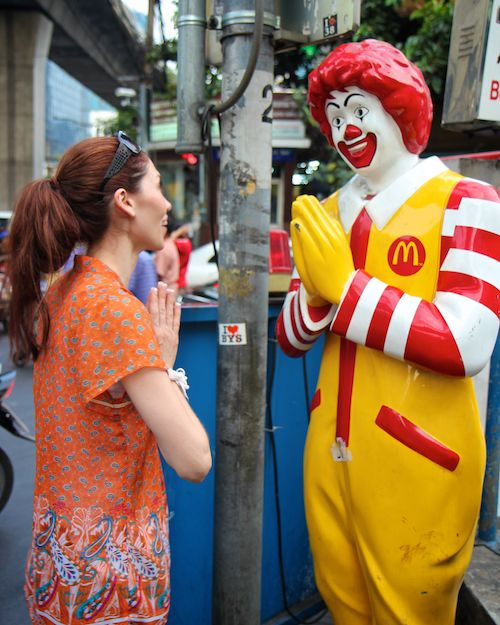 Ronald McDonald in Thailand with April Malina