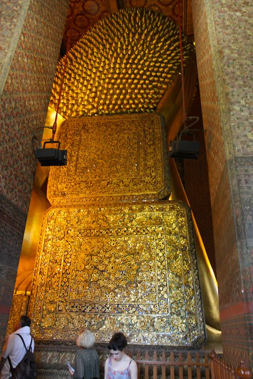Back of the head of Reclining Buddha in Bangkok, Thailand