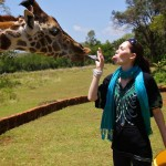 Giraffe tongue at Giraffe Manor in Nairobi during Wedding World Tour