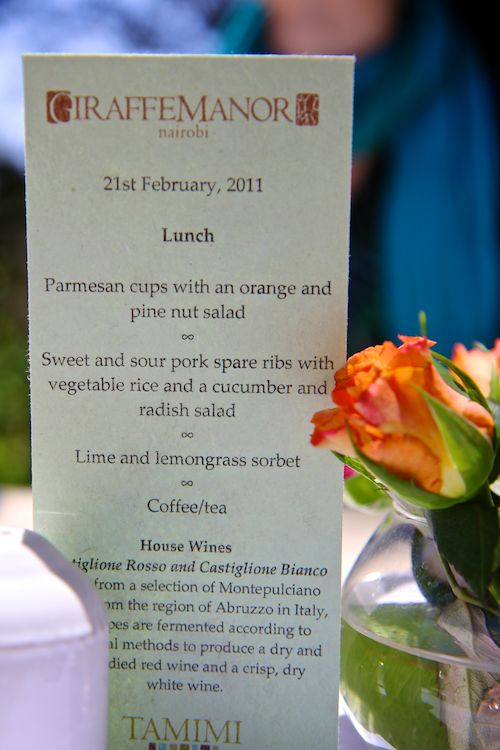 Menu at Giraffe Manor in Nairobi during Wedding World Tour